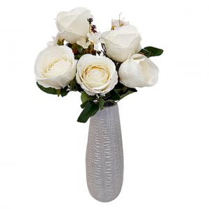 Buchet trandafiri artificiali albi Caroline 45cm