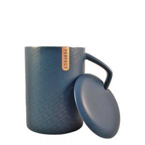 Cana ceramica albastra Perfect cu capac