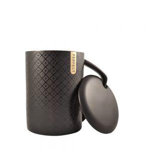 Cana ceramica neagra Perfect cu capac