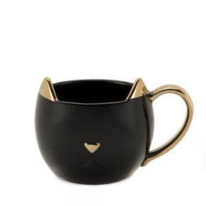 Cana pisica Precious neagra ceramica 330ml