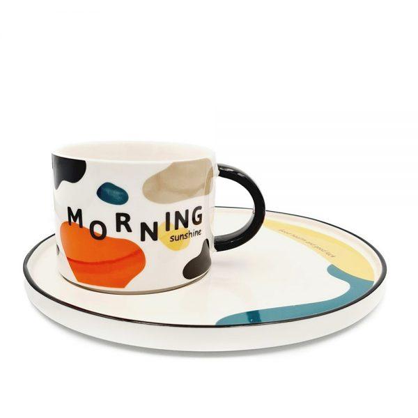 Set ceasca si farfurie Good Morning portelan