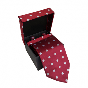Cravata bordo Pierre cu butoni si batista