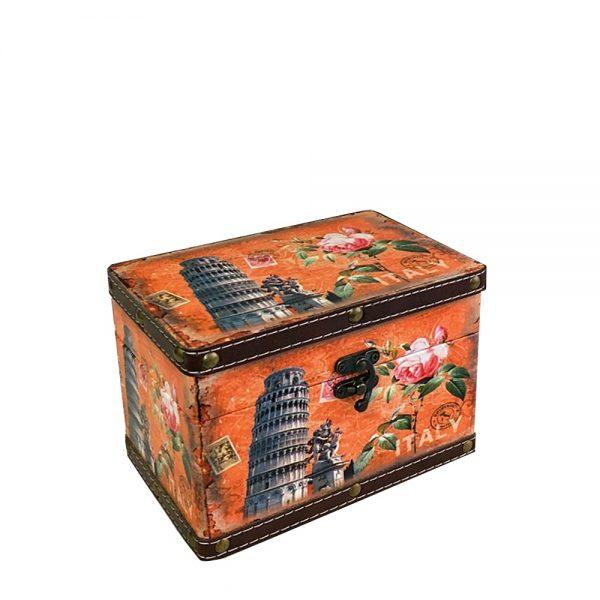 Cutie bijuterii Pisa cufar lemn 18x12x12cm