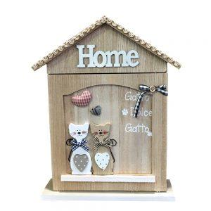 Cutie chei Cats Home lemn 21x29cm