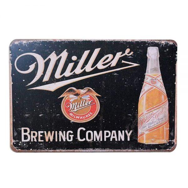 Placa metalica Miller Beer poster vintage