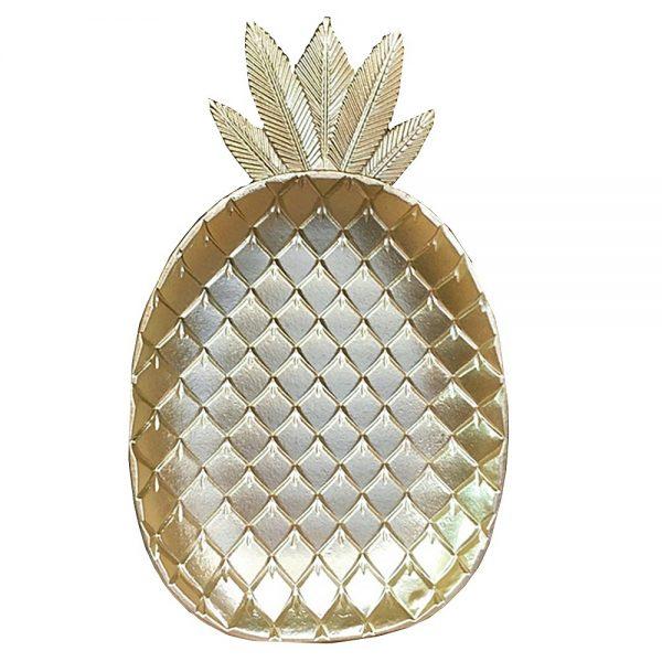 Platou lemn Pineapple auriu 22x35cm