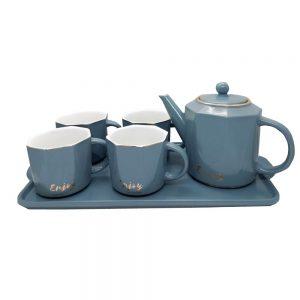 Set 4 cesti Enjoy gri cu ceainic si tava
