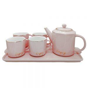 Set 4 cesti Enjoy roz cu ceainic si tava