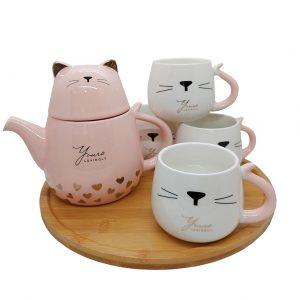 Set 4 cesti & ceainic pisica Zoey, Tava bambus