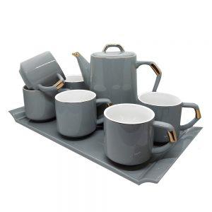 Set 6 cesti William cu ceainic si tava ceramica