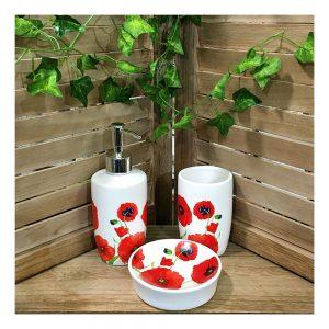 Set accesorii baie albe Poppy ceramica
