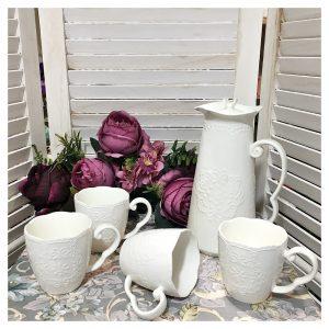 Set cafea ceai Julie alb portelan
