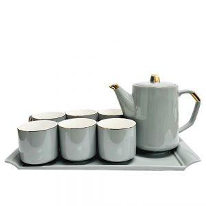 Set ceaicafea 6 persoane Willie gri portelan