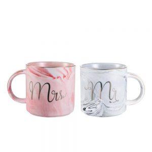 Set cesti cafea Mr & Mrs portelan