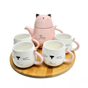 Set cesti pisica Zoe cu ceainic si tava