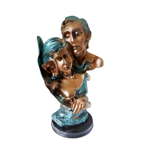 Statueta cuplu Blue Lovers rasina 31cm
