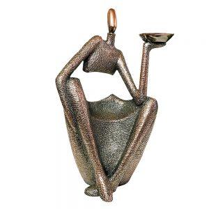 Statueta rasina Coppery 28cm suport lumanare