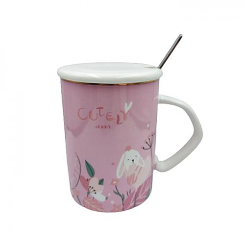 Cana cu capac Cutely Bunny ceramica