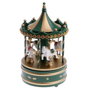 Carusel muzical verde-auriu Merry-Go-Round