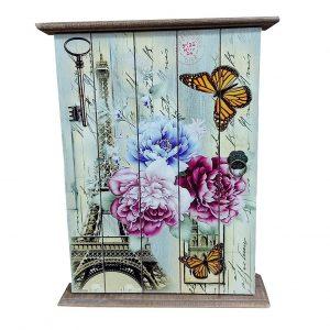 Cutie chei Paris vintage lemn 19x25cm