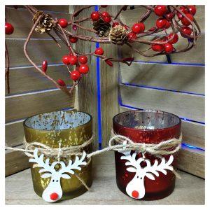Set 2 suporturi candele Xmas Reindeer sticla