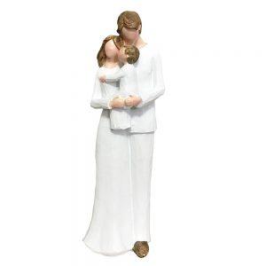Statueta cuplu cu copil Family alba 23cm