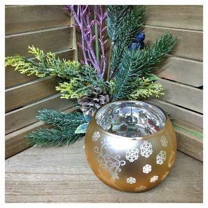 Suport candela Shinny Xmas sticla 8.5cm