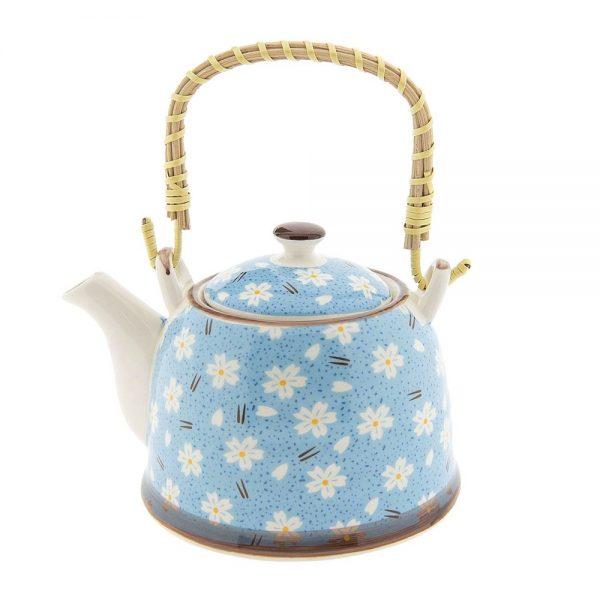Ceainic ceramica Blue Daisy 800ml maner bambus