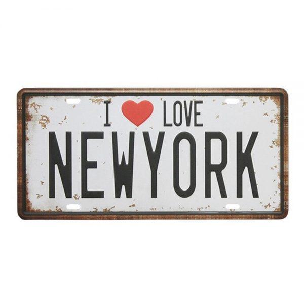 Placa metalica I Love NY numar auto vintage