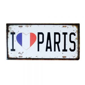 Placa metalica I Love Paris numar auto vintage