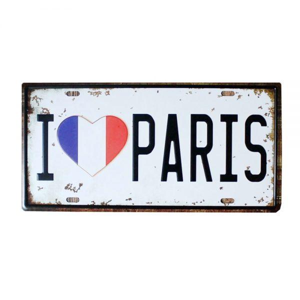 Placa metalica I Love Paris numar auto vintage