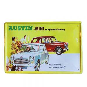 Placa metalica Mini Austin poster vintage