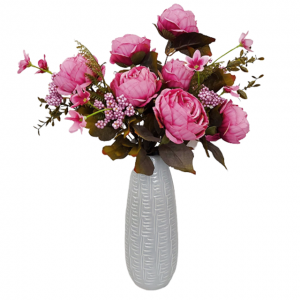 Buchet bujori artificiali roz Polka Genevieve 45cm
