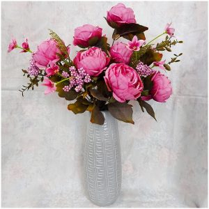 Buchet bujori roz Polka Genevieve vintage 45cm