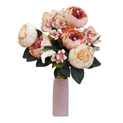 Buchet bujori roz artificiali Peach Berenice