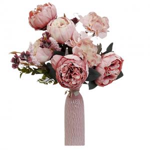 Buchet bujori roz artificiali Pink Berenice 45cm