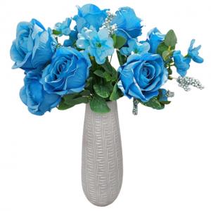 Buchet trandafiri albastri artificiali Paulette 45cm