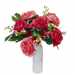 Buchet trandafiri artificiali Fuchsia Amelie 45cm