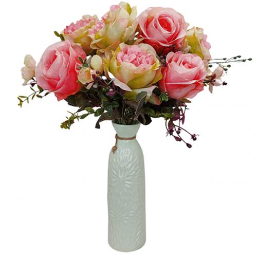 Buchet trandafiri artificiali roz Lime Danielle