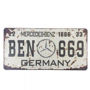 Placa metal vintage Mercedes numar auto