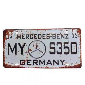 Placa metal vintage Mercedes numar auto decorativ