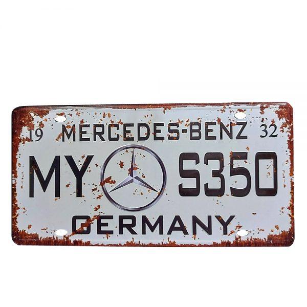 Placa metal vintage Mercedes numar auto decorativ