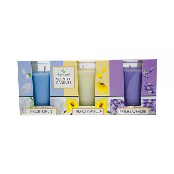 Set 3 lumanari parfumate Lavender & Vanilla & Fresh Linen