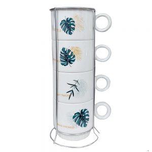 Set 4 cesti cafea Leaf ceramica 200ml