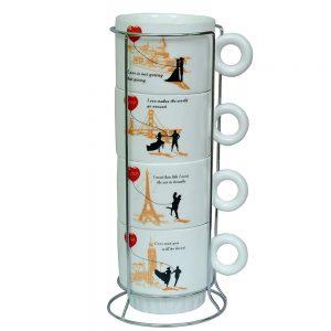 Set 4 cesti cafea Lovers ceramica 200ml