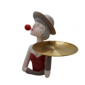 Statueta Red Mademoiselle 30cm cu platou