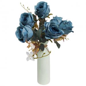 Buchet trandafiri artificiali albastri Eugenie 40cm