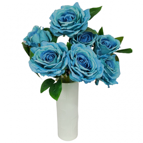 Buchet trandafiri artificiali albastri Stephanie 50cm