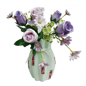 Buchet trandafiri artificiali lila Barbara 30cm