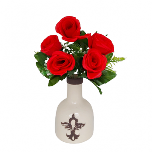 Buchet trandafiri artificiali rosii Charlene 25cm